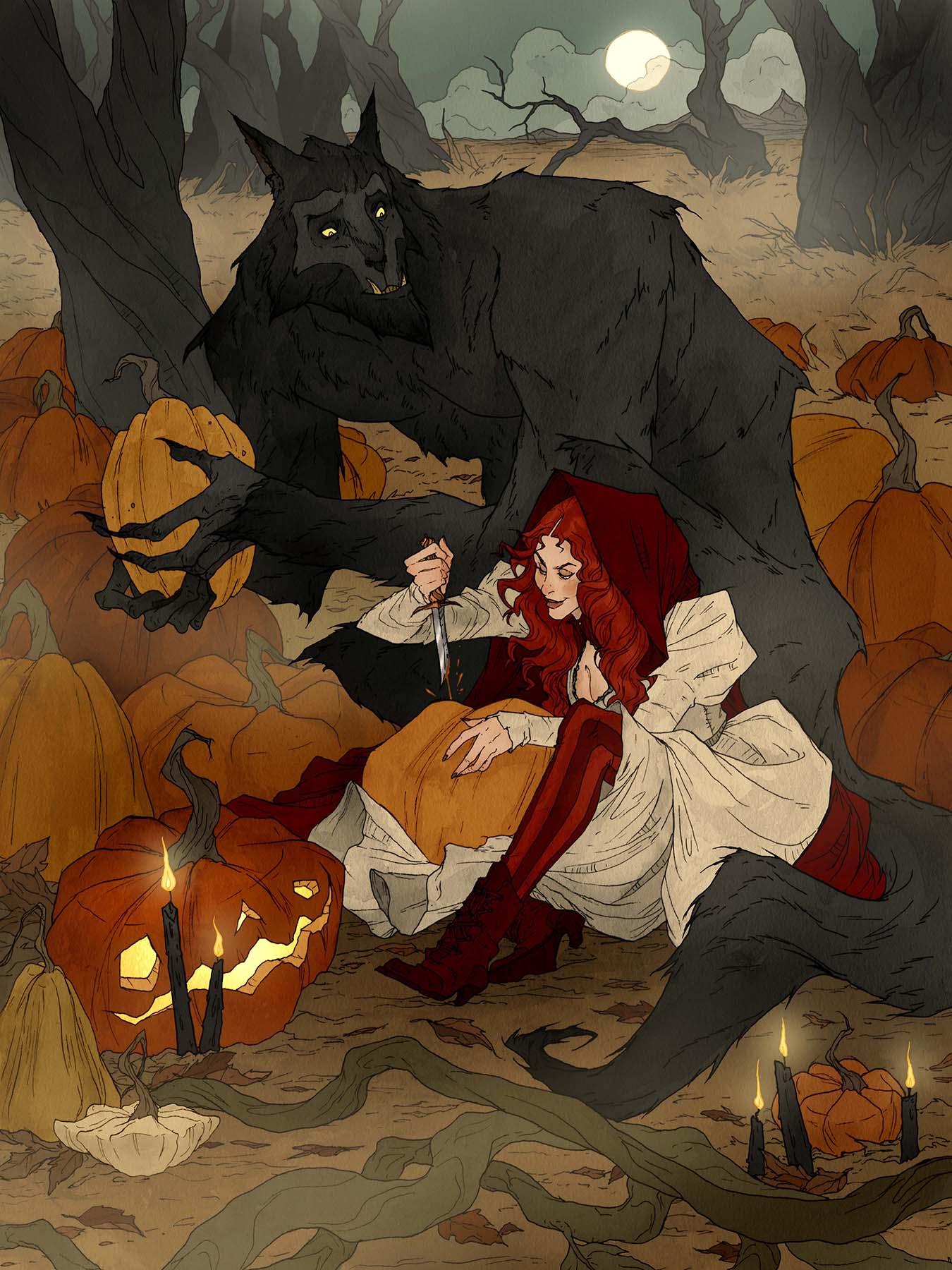 Crimson d'Abigail Larson : creuser des citrouilles avec un loup-garou.