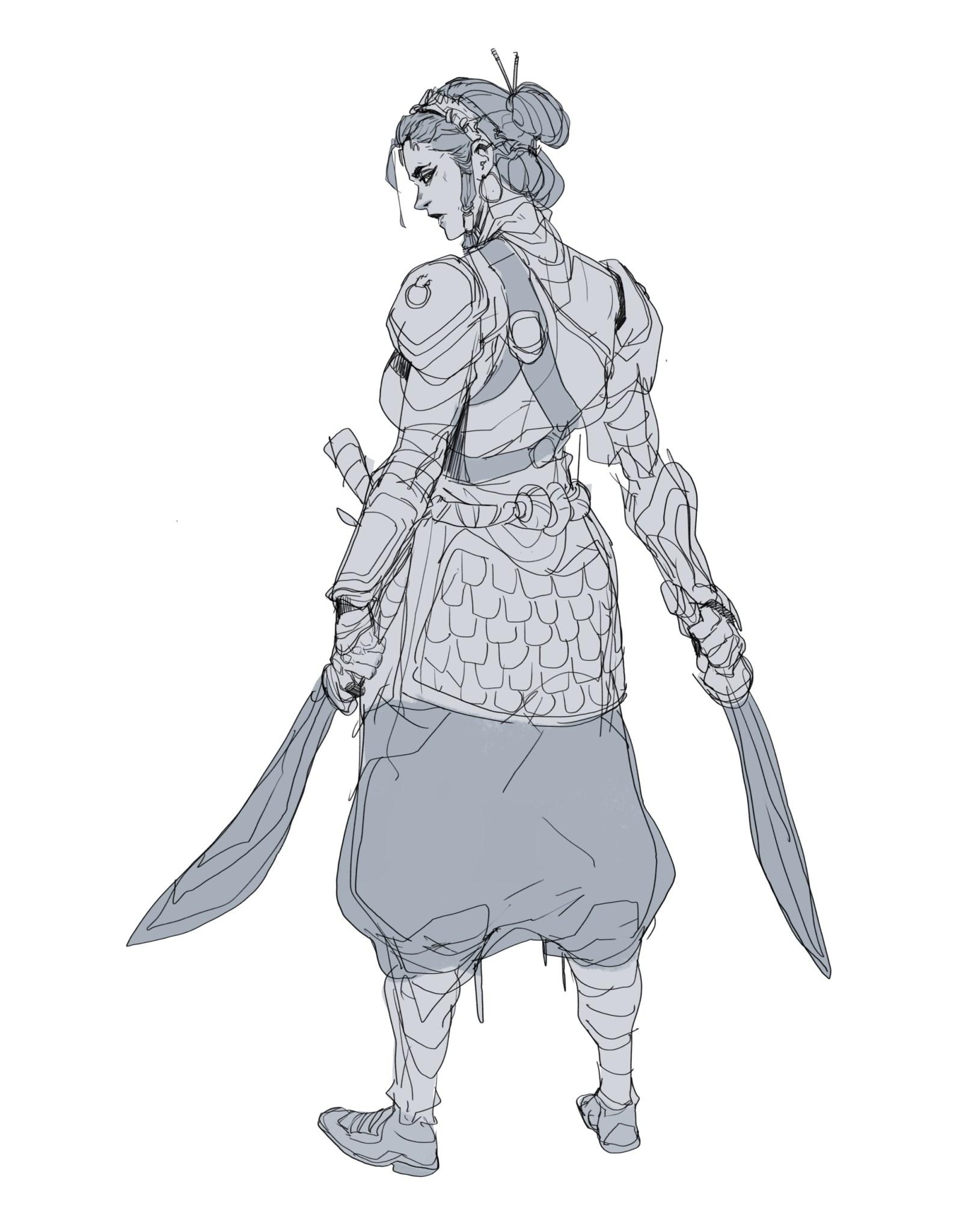 Une guerrière dessinée par Hicham Habchi, un artiste marocain passionné de bandes dessinées.