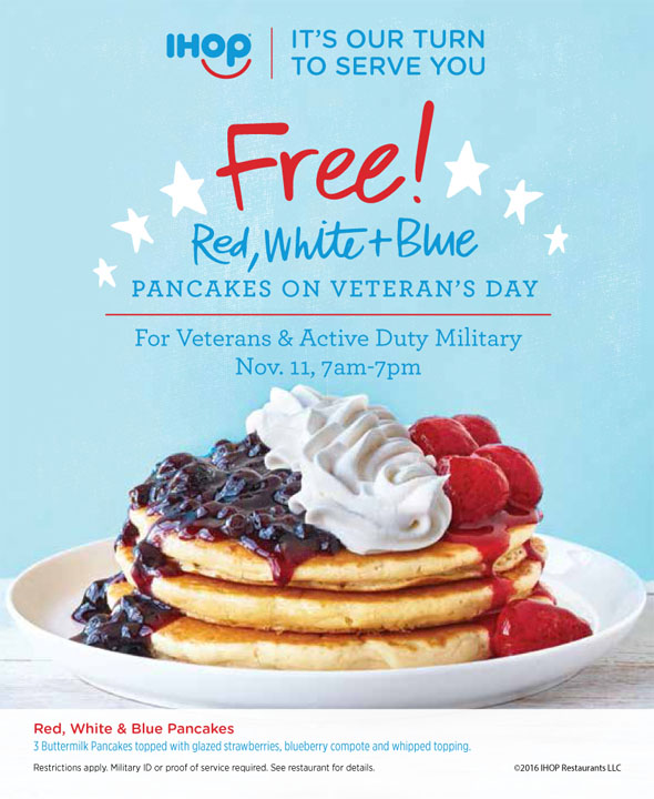 Image result for ihop veterans day ad