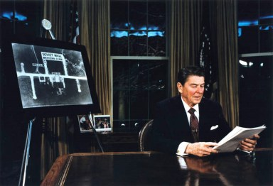 Strategic Defense Initiaive (Star Wars) being introduced by President Reagan