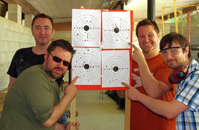 The Caustic Soda crew and their targets.