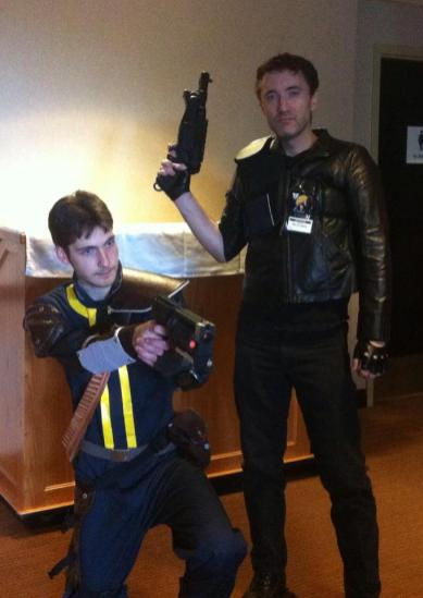 Joe Fulgham as Mad Max/The Road Warrior at VCON 2012, accompanied by Fallout's Wanderer