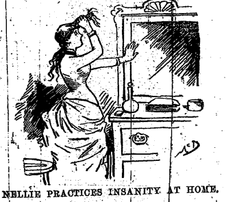 Nellie Bly practicing insanity