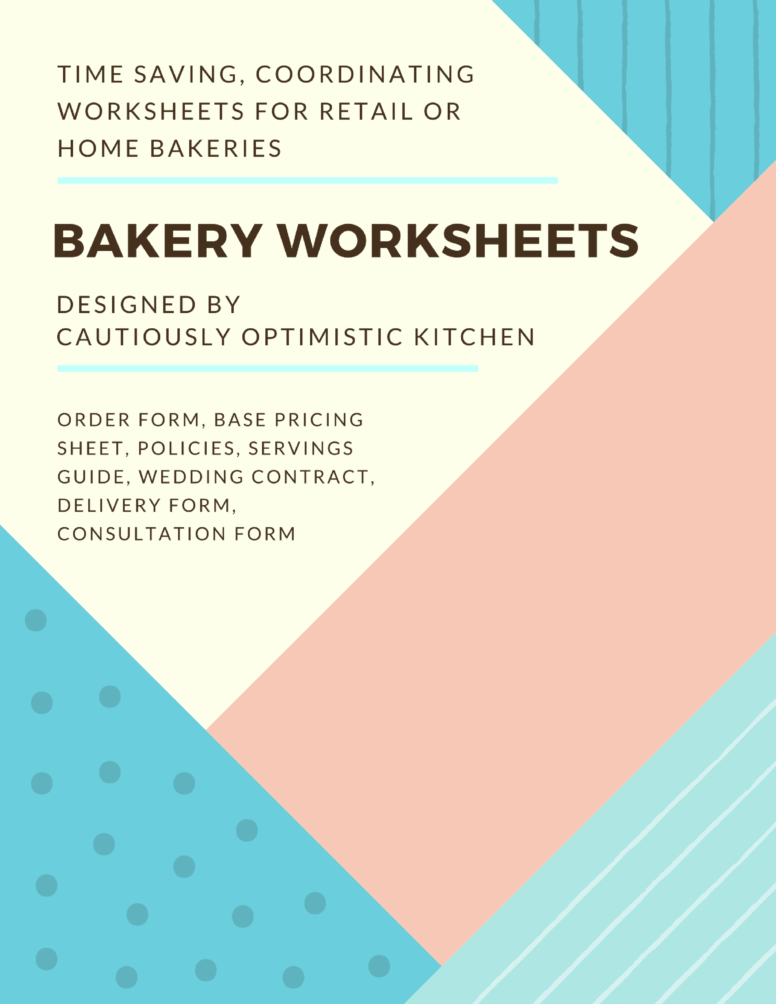 Free Bakery Worksheets Order Forms Policies Servings Guides Amp More
