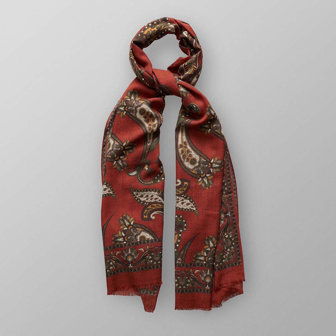 RED GREEN PAISLEY WOOL SCARF