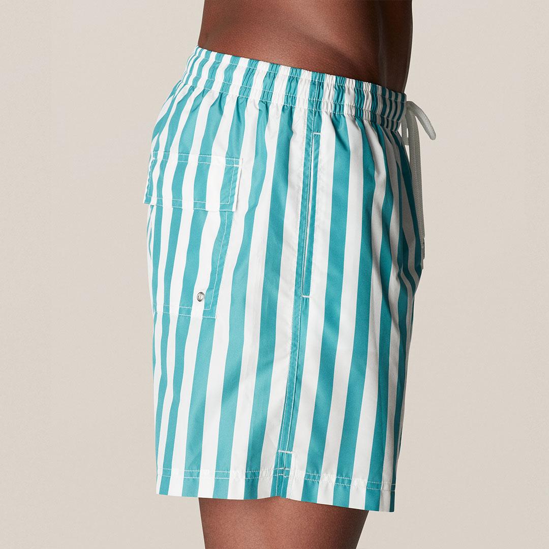 turquoise stripes swim short b