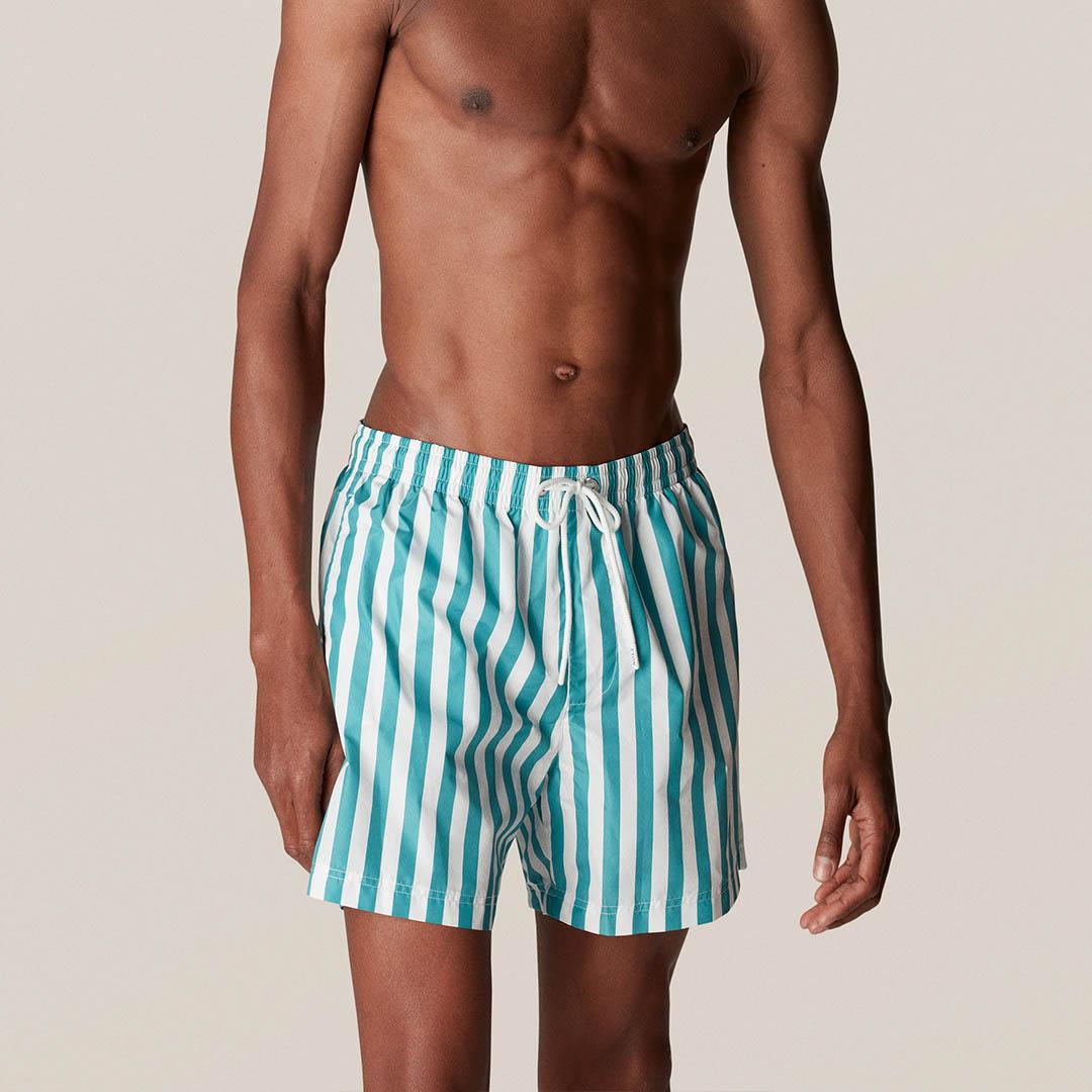 turquoise stripes swim short d