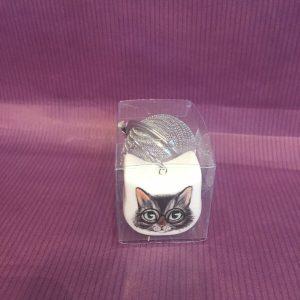 boule a the chat noir rotated - Boule à thé chat gris