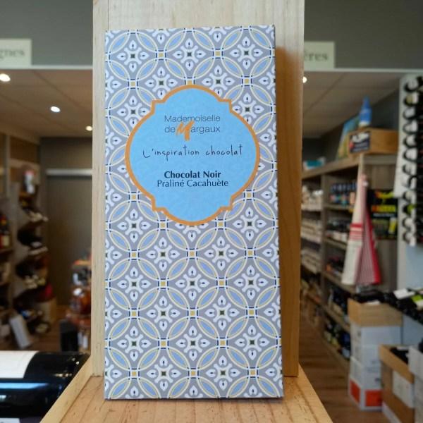 TABLETTE PRALINE CACAHOUETE rotated - Mademoiselle de Margaux - Chocolat noir 71% praliné cacahuète 100gr - RUPTURE