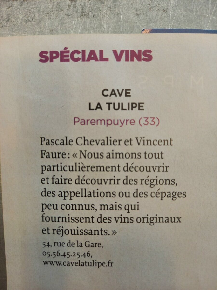 LE POINT ARTICLE e1631899707769 - Sept 2021 : La Tulipe dans la sélection des 100 meilleures caves en France du magazine Le Point