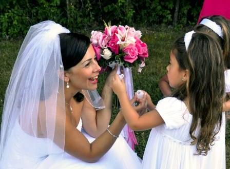 Bride in a tender moment with daughter at North Georgia Wedding Venue