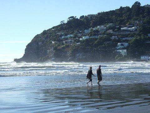 lovely beach shot - people walking on beach