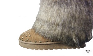 FAUX FUR HUNTER BOOTS BROWN side