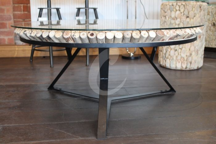 driftwood and glass top coffee table