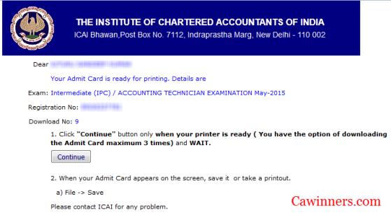 CA IPCC Admit Card