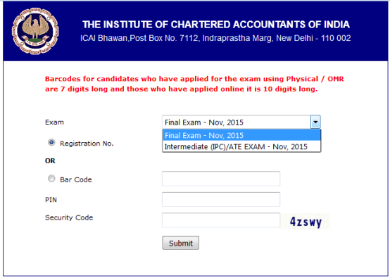 CA Admit Card Nov 2015 For CA IPCC and Final
