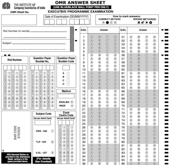 CS Executive OMR Based Exam Three Subjects
