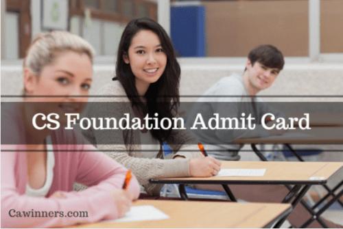 CS Foundation Admit Card June 2016