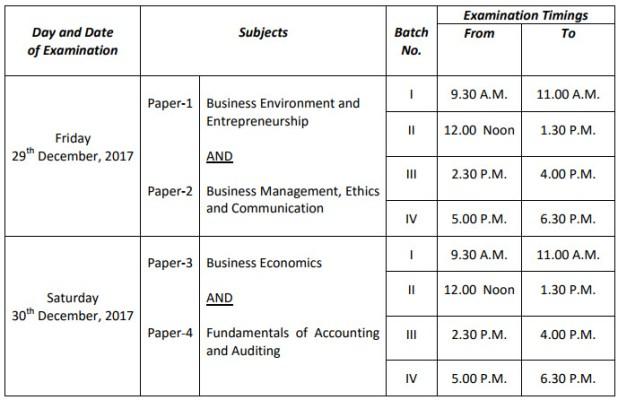 CS Foundation Exam Timetable Dec 2017