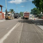 Roadworks underway while island under curfew