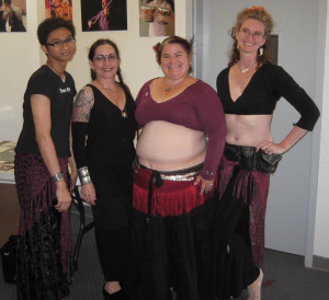 Carolena with our 3-person dance group, Yuska, me, and Kathleen. For this 3-day class at Tribal Fest 2011, the three of us drilled together.