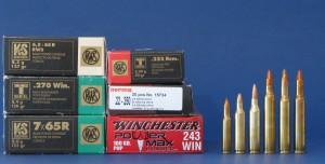 Algunos cartuchos muy utilizados históricamente para el corzo. De izquierda a derecha: .222 Remington, .22-250 Remington, .243 Winchester, 6,5x65 RWS, .270 Winchester y 7x65R.