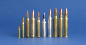 Está claro que, ante una especie tan blanda, la lista de cartuchos utilizables es muy alta. La opción de usar nuestro rifle habitual es la generalmente usada si no somos especialistas en la modalidad. Ello supone que se abatan corzos con cartuchos claramente excesivos. De izquierda a derecha se muestran algunos ejemplos de lo que se está utilizando ahora mismo para tirar corzos: .17HMR, 5,6x50R, 6x62 Fréres, .257 Weath Mag, 6,5x57 R, .270 WSM, 7 mm RM, .300 Win Mag, .338 Win Mag y 9,3x62.
