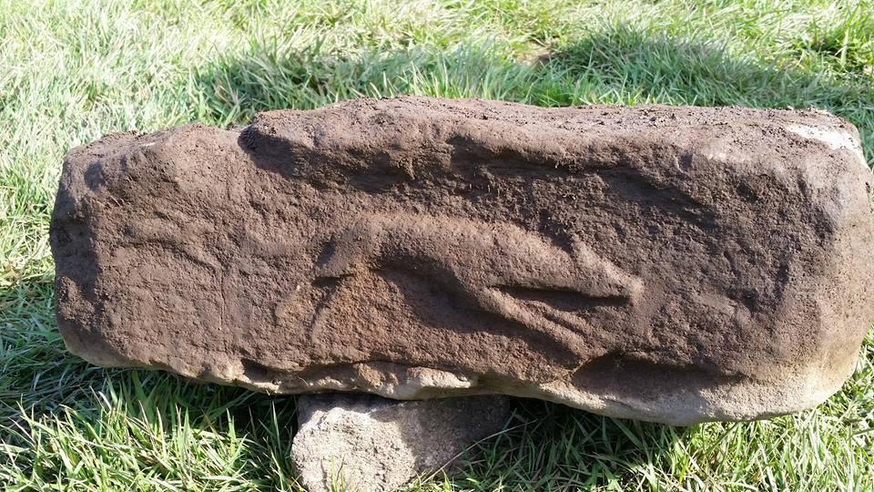 excavaciones del fuerte romano de Vindolanda (Inglaterra), una escena de caza de liebre con galgos tallada en piedra
