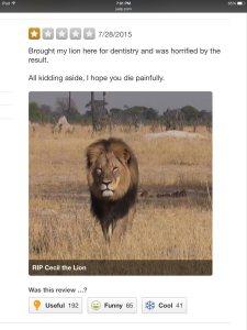 amenazas internet WALTER PALMER león cecil
