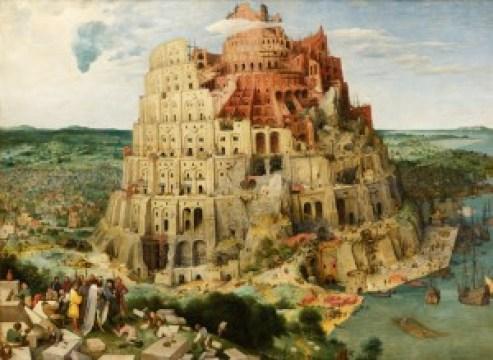 La Torre de Babel, de Pieter Brueghel el Viejo. Alegoría al Emperador Habsburgo, escoltado por su pareja de monteros (detalle del cuadro en la foto de cabecera).
