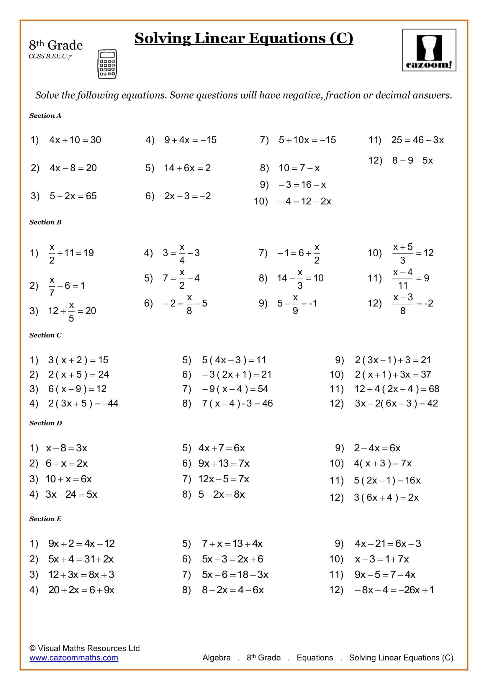 8th Grade Math Worksheets