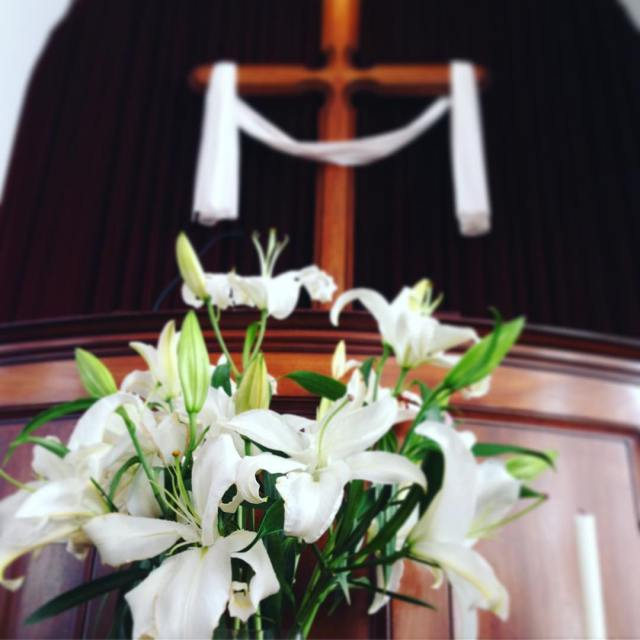 Christ has risen Christ has risen indeed easter lillies cross