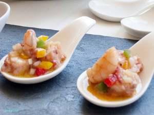 Cucharitas de salpicón de pulpo