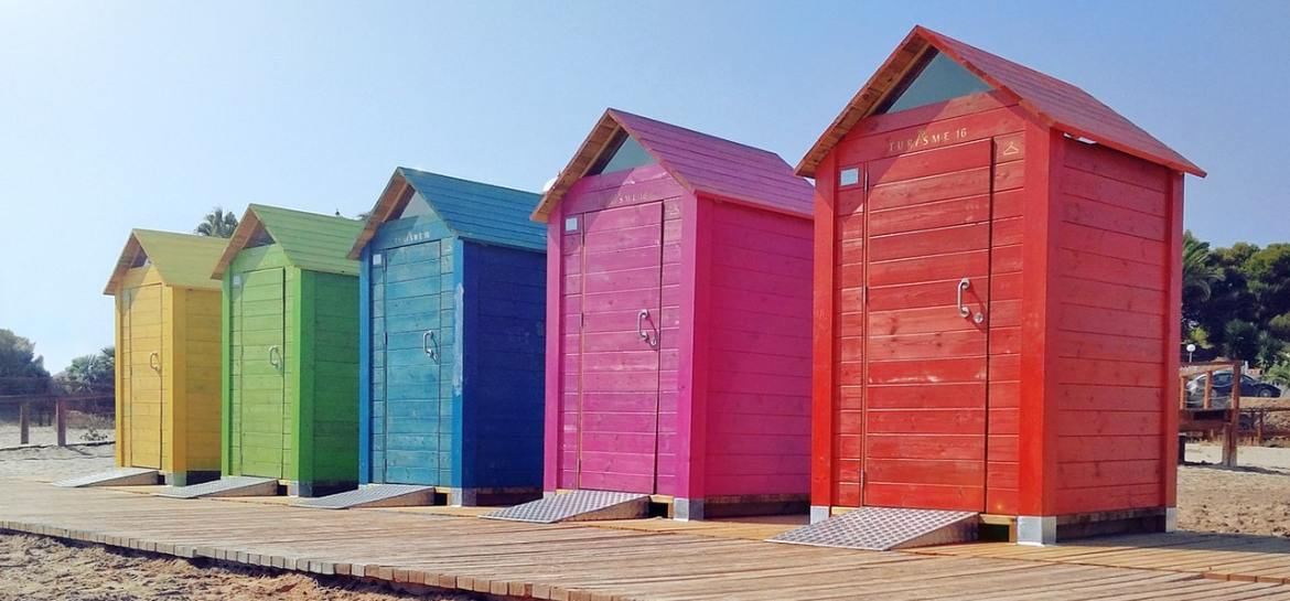 Five beach huts