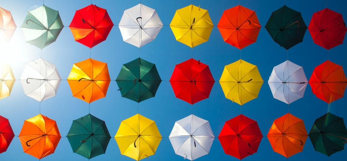 Multi-coloured parasols