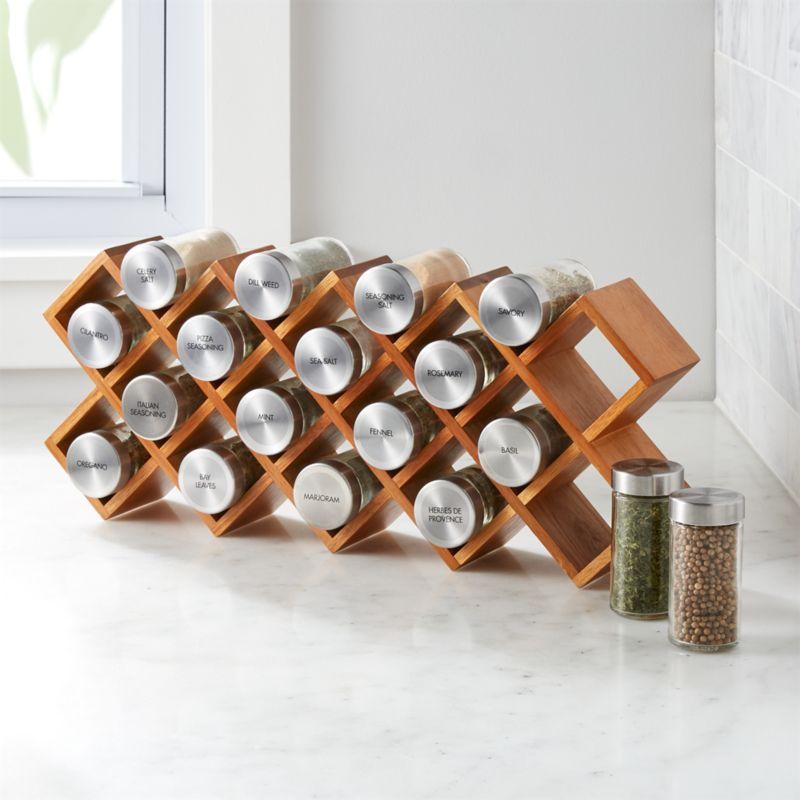 18 jar acacia wood spice rack reviews crate and barrel
