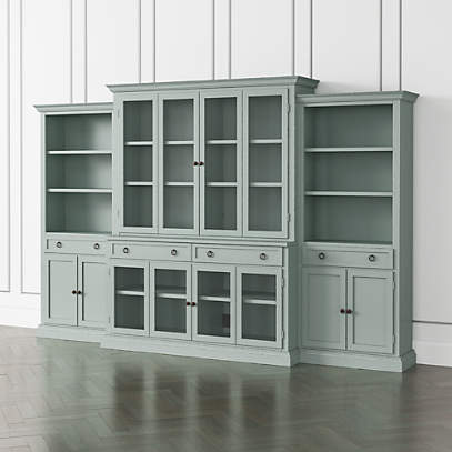 Cameo Blue Grey 4 Piece Glass Door Wall Unit With Storage Bookcase Crate And Barrel
