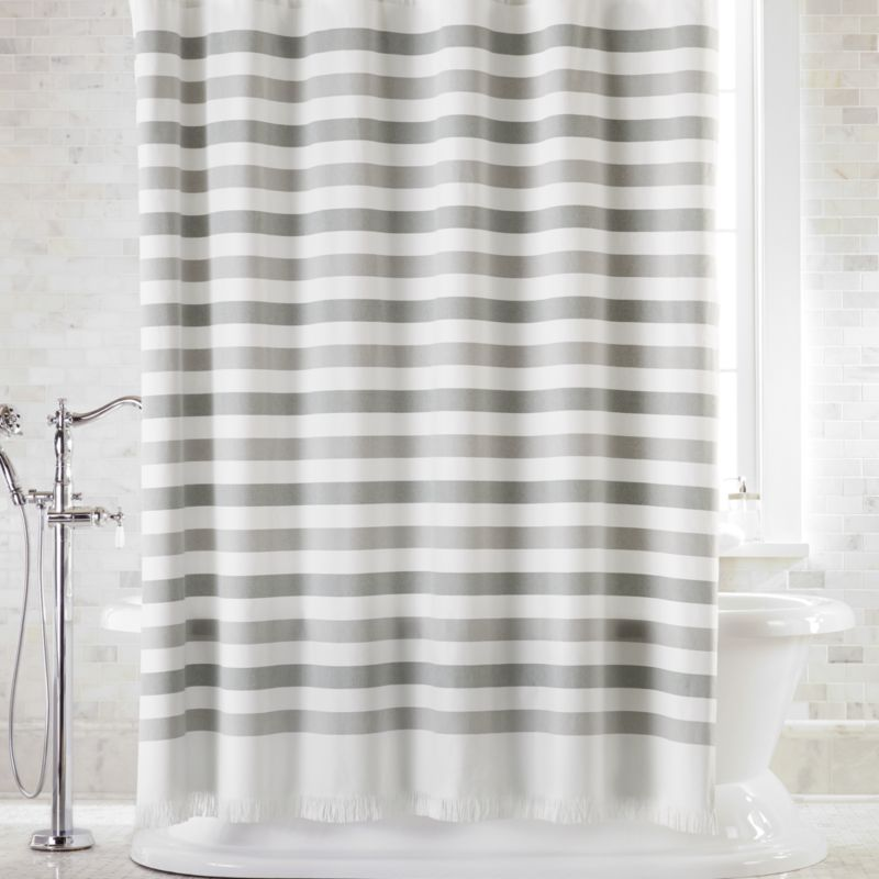 cedros grey stripe fringe shower curtain reviews crate and barrel canada