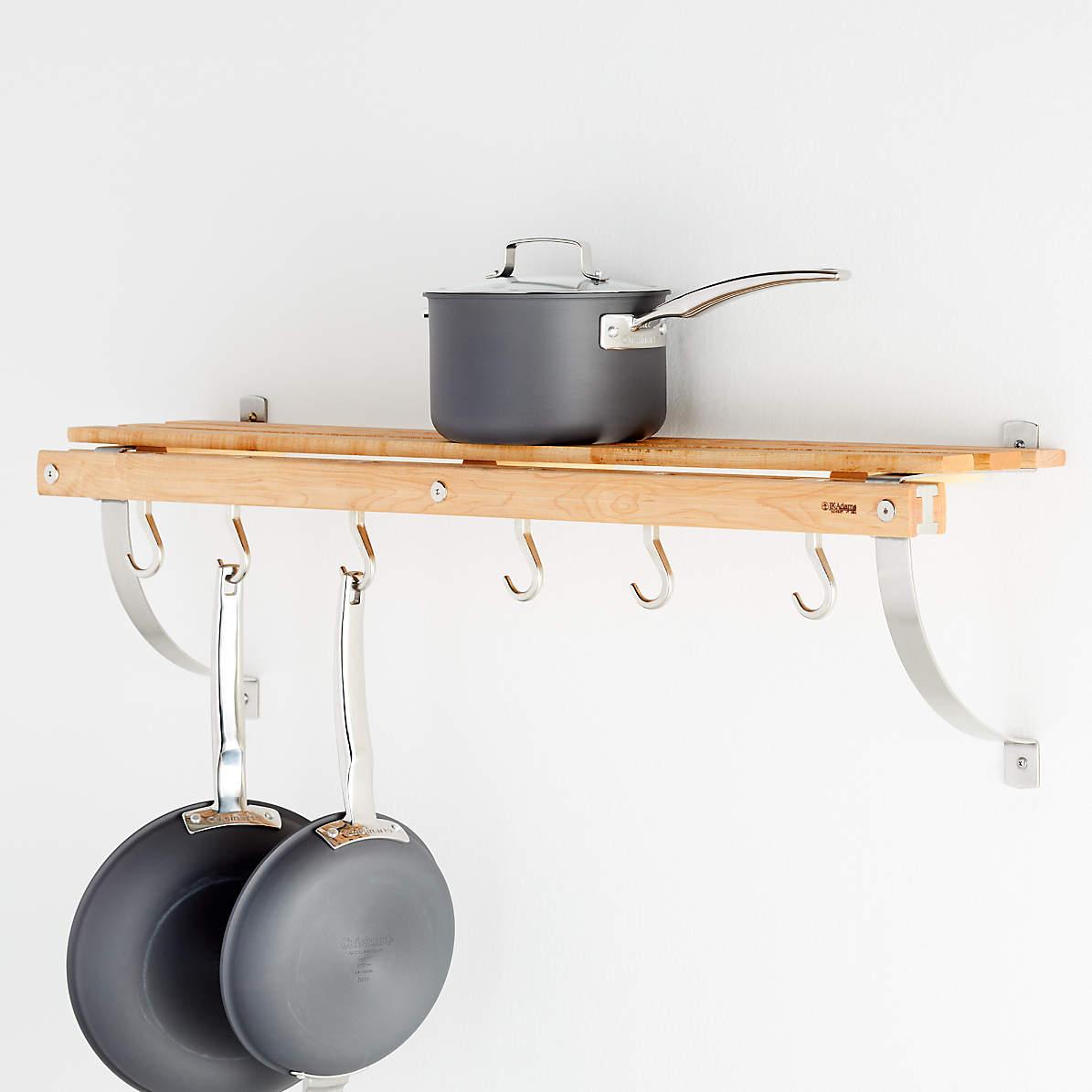 j k adams wall mounted maple pot rack
