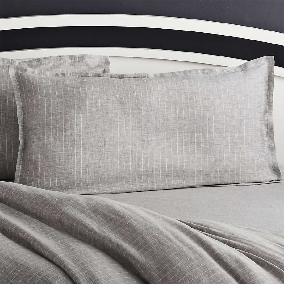 pure linen pinstripe grey king pillow sham