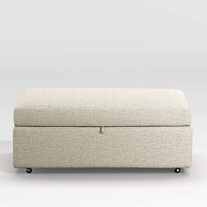 lounge light grey storage ottoman reviews crate and barrel