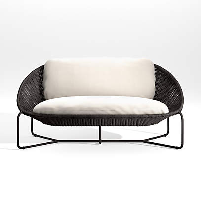 morocco graphite oval loveseat with white cushion