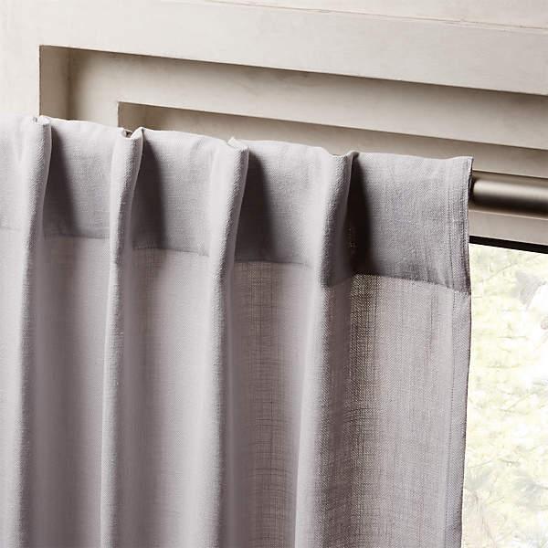 heavyweight silver grey linen curtain panel 48 x108