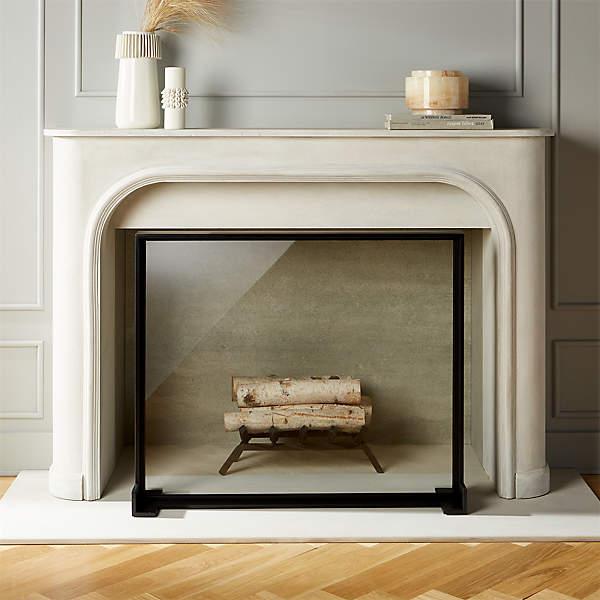 ledge glass fireplace screen