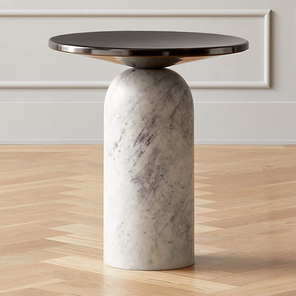https www cb2 com martini side table with white marble base f20127