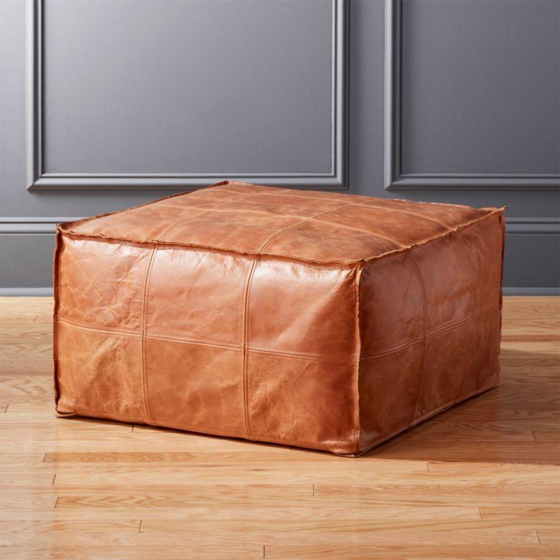 medium square leather ottoman pouf reviews cb2