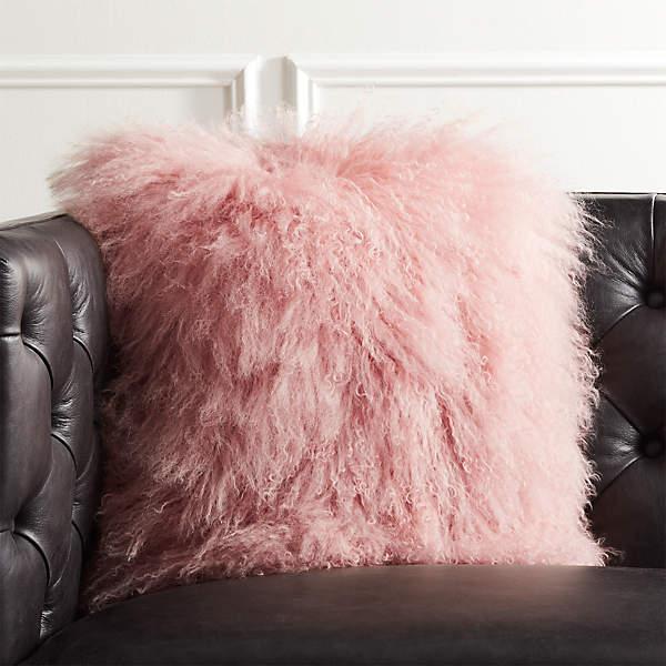 16 pink mongolian sheepskin pillow cb2