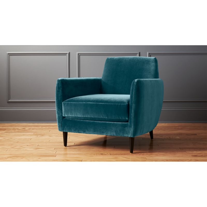 Light Blue Velvet Accent Chair