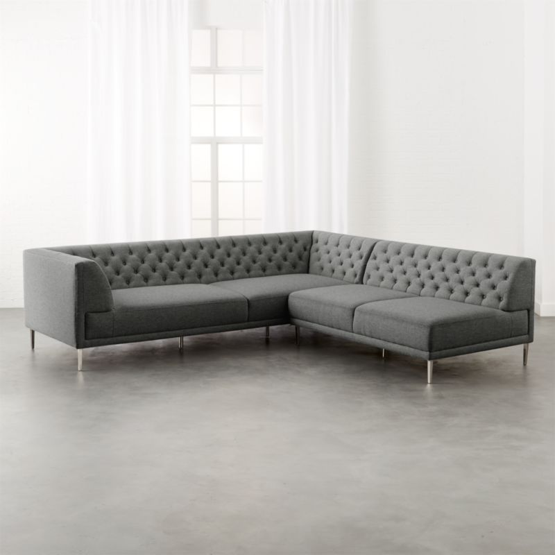 savile taylor grey tufted sectional
