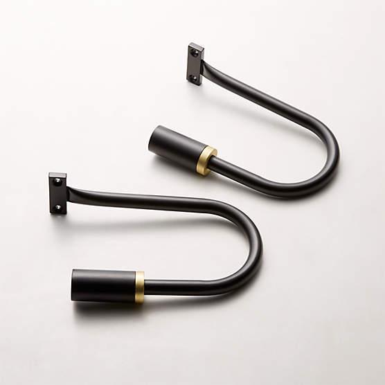 seamless black with brass band curtain rod set 28 48 x1 dia